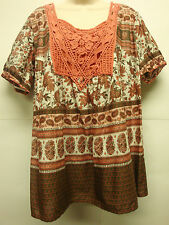 """*NWT Art and Soul """"Salmon"""" Crocheted Front S/S 100% Cotton Top/Blouse sz 1X-Nice"""