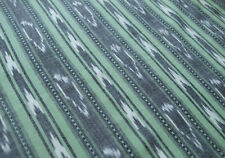 Genuine Ikat Hand-Woven & Hand-Dyed Fabric  Green India Homespun Cotton Sewing