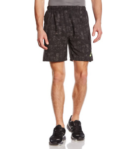 Asics Men's Woven Shorts 7 inch Sports Running Shorts - Black Print - New