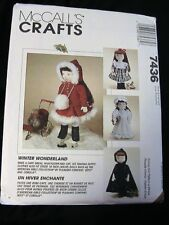 "WINTER WONDERLAND clothing~McCalls 7436 *RARE OOP for 18"" (45cm) cloth art dolls"