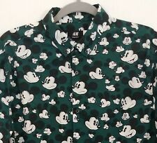 H&M Disney Mickey Mouse Green Long Sleeves Cotton Shirt Mens Size Large EUC