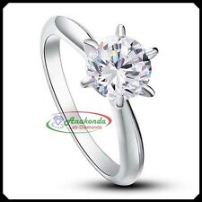 Solitare Engagement Woman Ring Synthetic Grown Diamond 1.25Ct Silver 925 + Gold