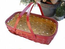 Splint Oak Handled Gathering Basket Weathered Mustard Yellow Red Painted Rustic