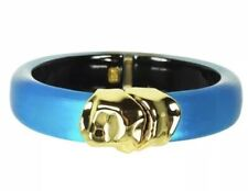 New! $175 Alexis Bittar Sculptural Metal Hinge Gold Lucite BANGLE Blue Turquoise