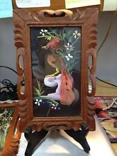 TWO VINTAGE MEXICAN FEATHERCRAFT PICTURES---REAL FEATHERS-----------------dt