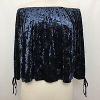 American Eagle Outfitters Womens Blue Velvet Off The Shoulder Top Size XS