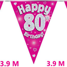 Oaktree Happy 80th Birthday Pink Holographic Foil Party Bunting 3.9m ,11 Flags