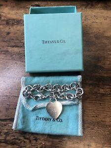 "Tiffany & Co Mini Heart Tag Link Bracelet 925 Sterling Silver 7 1/2"" L"