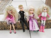 Bratz doll  lot of 4  1 male &  3 girls blondes, 1 is a light up dress & Bow