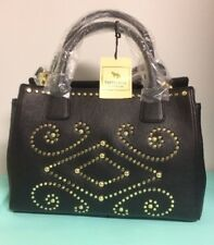 Emma Fox Lakeside Large LEATHER Studded Satchel in Black -New