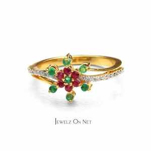 14K Gold Genuine Diamond Ruby Emerald Gemstone Floral Design Ring Fine Jewelry
