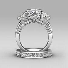 Princess cut Diamonique Cz 925 Silver Wedding Ring Set Engagement Band Size 5-11