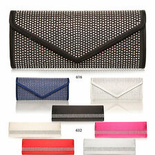 NEW LAIDES SATIN DIAMANTE CLUTCH BAGS SLIM LARGE ENCRUSTED OCCASION COLOURS