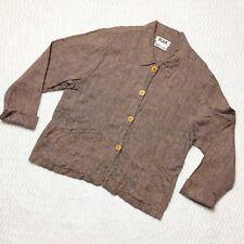 FLAX Slub Linen Jacket Button Front Slit Pockets Brown Blue Size S