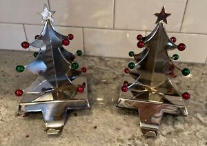 2 Crate & Barrel Silver Xmas Tree Hooks Christmas Stocking Holders Hanger Mantel