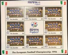 Gambia Euro '96 England Football Championship Stamp- Italy Sheetlet of 9