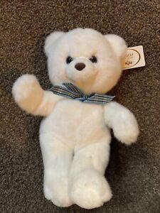 "1990s Russ Hugging Teddy Bear White 12"" Caress Soft Plush Vintage Stuffed Animal"