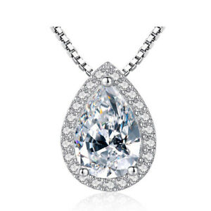 Silver Plated Tear Dorp Crystal Necklace With Full Pave Setting Female Jewelry