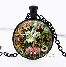 Haeckel Orchid photo Glass Dome black Chain Pendant Necklace wholesale
