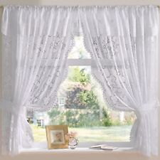 Andrea Jacquard Lace Net Curtain Set In White - Free Postage!