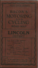 Old Bacon'S Motoring & Cycling Half-Inch Map - Lincoln District - 1920s - Cloth