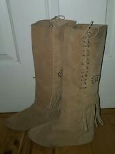 Maine Woods INDIAN fringe Western Boots studded Size 6.5 M lace up leather