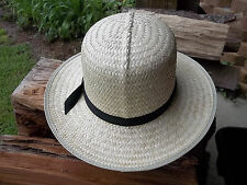 "BRAND NEW AMISH STYLE STRAW HAT SIZE MEDIUM - 3"" brim x 4 1/2"" crown Made In USA"