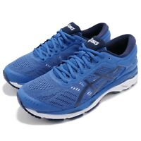 Asics Gel-Kayano 24 Blue Black White Mens Road Running Shoes Sneakers T749N-4549