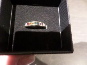 LADIES CHANNEL SET DRESS RING - GOLD, ruby, garnet, amethyst, emerald, sapphire