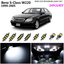 24Pc HID Cool White 6000K Interior Light Kit LED Fit 1999-2005 Benz S-Class W220