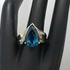 London Blue Topaz Ring 10k Yellow Gold Signed THL Size 7.75 MA-BTR1