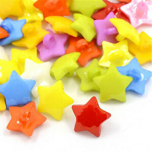 400pcs Acrylic Shank Buttons 1-Hole Faceted Star Mixed Color Sewing Fastening