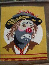 Vintage Emmett Kelly Hobo Clown Needlepoint