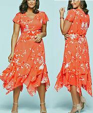 Apartes Kleid mit Blumendruck/Zipfelsaum Gr.48 lachs bedruckt Neu 914111
