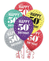Fiftieth 50th Birthday Printed Latex Balloons ~ 15ct Party Supplies Decoration
