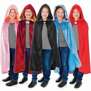 Halloween Kids Boys Girls Velvet Hooded Cape Robe Cloak Book Week Fancy Dress