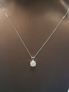 0.70 Ct Solitaire Diamond Pendant in 18k White Gold comes with Chain