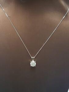 1Ct Solitaire Diamond Pendant in  White Gold comes with Chain