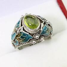 Superb Vintage Chinese Silver Enamel Butterfly Peridot Ring Size L/6 Gift Boxed