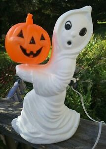 Vintage General Foam Ghost Carrying Pumpkin 13 Inch with Light Cord