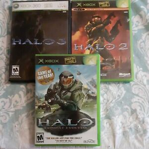 Lot Of 3 Xbox Halo Games, 1, 2, & 3