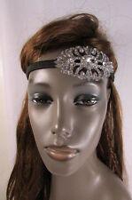 Wedding Women Elastic Head Band Fashion Jewelry Oval Silver Bling Flower Pendant