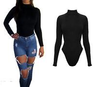 Peaches&Cream Thong Bodysuit Body Black Polo Neck Long Size 8 10 12 14 16 18