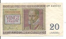 BELGIUM, 20 FRANCS, 1950