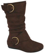 New Girls Suede Boots Zipper Buckle Black Brown Tan Taupe Mid Calf Slouchy Kids