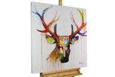 Acryl Gemälde 'HIRSCH MODERN BUNT' | HANDGEMALT | Leinwand Bilder 80x80cm