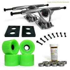 LONGBOARD Skateboard TRUCKS COMBO set w/ Neon Green 76mm WHEELS & Polished truck