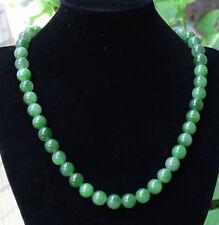 Certified Green Hetian Nephrite Beads Necklace , Grade A Jade Jadeite B-193-8