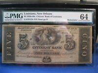 1850-60s $5 NEW ORLEANS LA CITIZENS' BANK OF LA PMG 64 CHOICE UNC CIVIL WAR ERA
