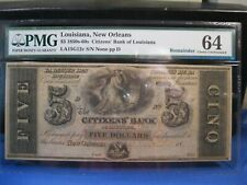 1850-60s $5 NEW ORLEANS LA CITIZENS' BANK OF LOUISIANA PMG 64 CHOICE UNC